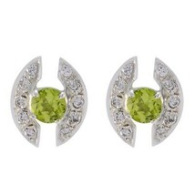 fine Peridot 925 Sterling Silver Green Earring Natural Designer CA gift - $11.05