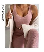 BOOFEENAA Cozy Plush Sweater Two Piece Set Crop Top and Pants Suit Casua... - $42.34+
