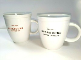 Two Starbucks Coffee Est 1971 Large Red Black Letters 2006 2007 Coffee C... - $29.64