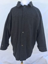 MENS XL BLack WOOL Blend Naval Peacoat w QUILTED LINING Heavy Warm Winte... - $58.04