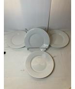 4)  PIER 1  SALAD PLATES  CORYDON  WHITE   FREE SHIP  VGC - $39.60