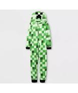 MINECRAFT Pajamas Boys Sz L 10/12 One Piece Union Suit Creeper Sleeper C... - $19.99