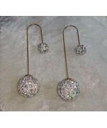 earrings ball multi color rhinestone dangle different wire gold tone - $15.00