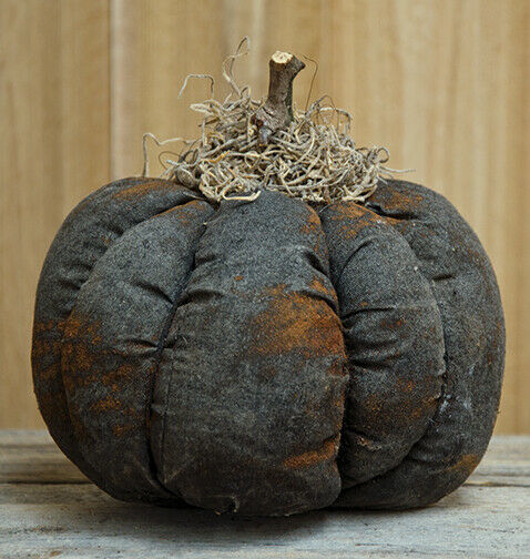 Primary image for Country STUFFED BLACK PUMPKIN Primitive Rustic Fall Autumn Thanksgiving
