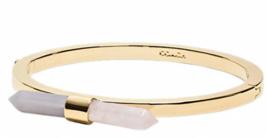 COACH Two Tone Amulet Quartz Bangle Bracelet Gold Plated Gemstones SEALED - $44.54
