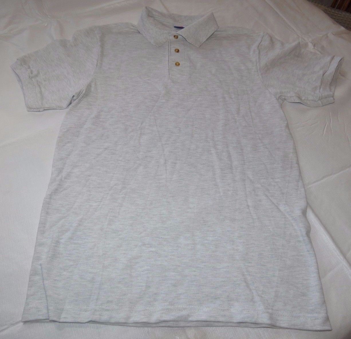 Hanes Stay Clean adult XXL 50-52 2xl mens lt grey ht short sleeve polo shirt NOS