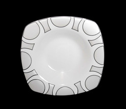 4 ODEON Platinum Silver on White Square Wide Rimmed Soup Bowls NEW Unique Design - $24.99