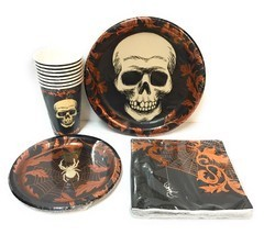 Skull Spider Spiderweb Party Pack Dinner Plates Lunch Napkins Cups Coppe... - $38.37 CAD
