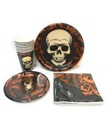 Skull Spider Spiderweb Party Pack Dinner Plates Lunch Napkins Cups Coppe... - €26,09 EUR