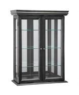 Country Tuscan Hardwood Wall Curio Cabinet: Ebony Black Finish (Availabl... - $171.99