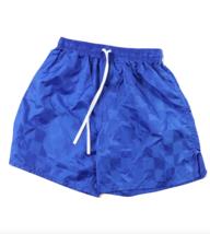 NOS Vtg 90s Youth Large Blank Checkered Nylon Running Soccer Shorts Roya... - £17.96 GBP