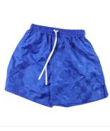 NOS Vtg 90s Youth Large Blank Checkered Nylon Running Soccer Shorts Roya... - £18.07 GBP
