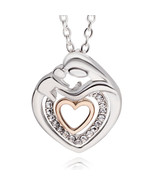 Ers day gift mom and baby necklace crystal rhinestone heart pendant necklace for women thumbtall