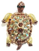 Turtle Pin Brooch Pendant Peridot Green Topaz Crystal Goldtone Metal Animal - $16.99