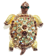 Turtle Pin Brooch Pendant Peridot Green Topaz Crystal Goldtone Metal Animal - $16.99