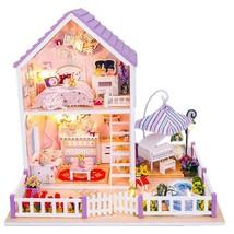 Purple DIY Wooden Dollhouse Miniature Dolls House Toy Romantic Birthday ... - £35.48 GBP