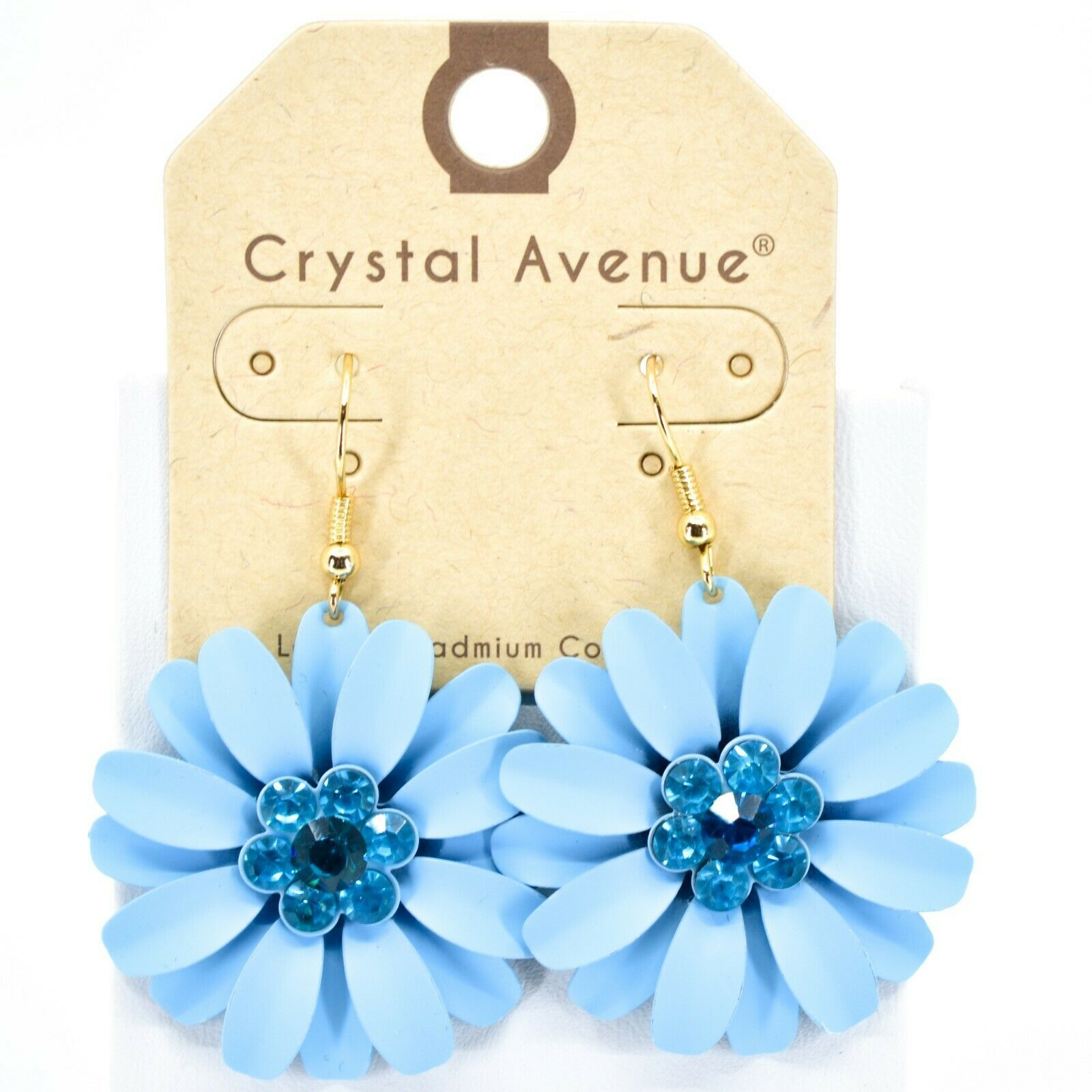 "Crystal Avenue Pale Sky Blue Spring Flower 2"" Drop Dangle Hook Metal Earrings"