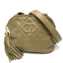 AUTHENTIC CHANEL CC fringe Matelasse Shoulder Bag Beige Lambskin Leather - $985.00