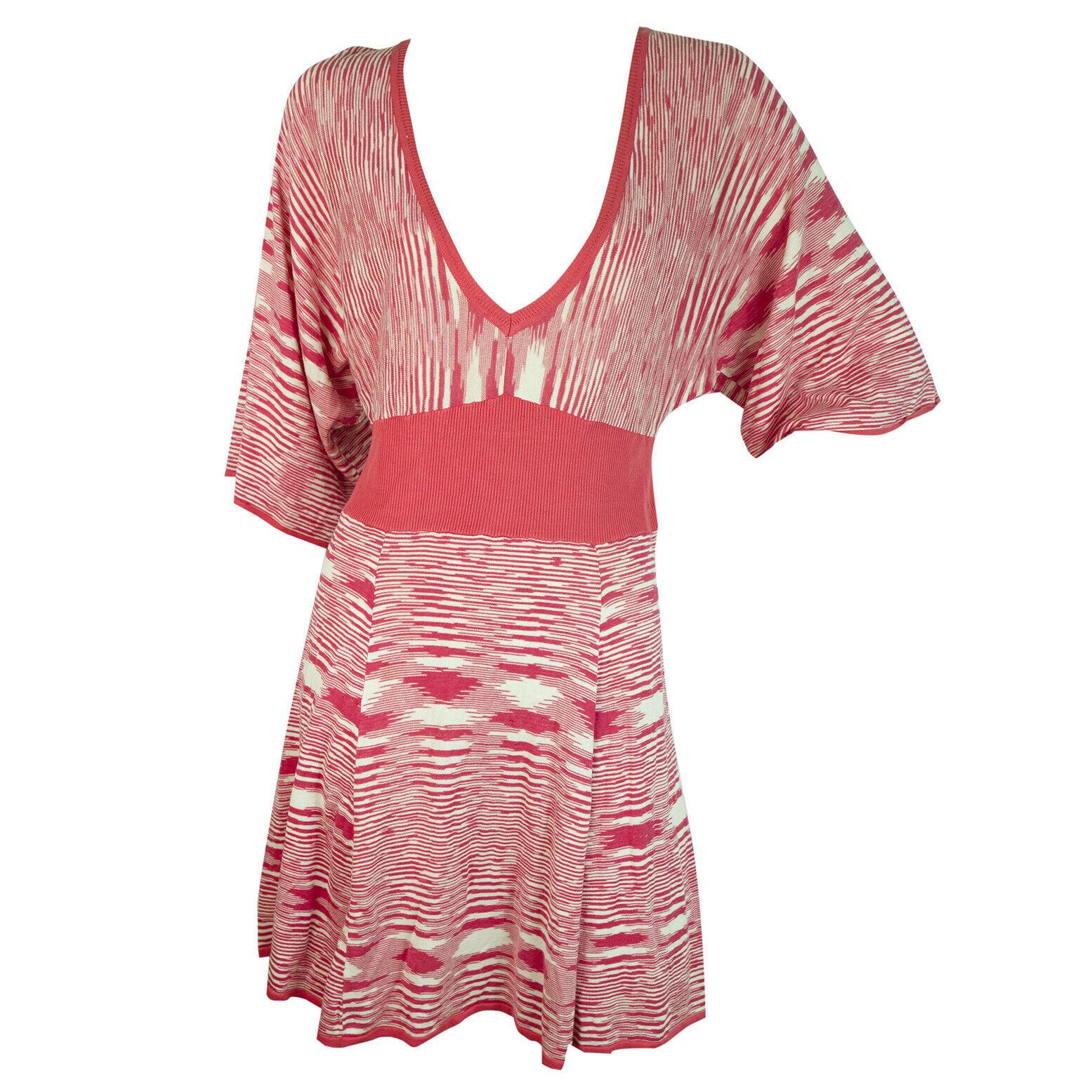 BCBG Maxazria Fuchsia White Striped V Silk Cotton Knit Tunic Mini Dress size L