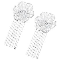 5 Pcs Silver Tone Hair Comb Metal Hair Clip Flower 5 Teeth Side Comb Decorative