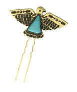 THUNDERBIRD BIRD CANDLE PIN BOBBY Southwest Indian Turquoise GOLD hair western - $12.60