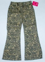 XHILARATION NWT GIRLS SIZE 6X SHIMMERY GOLD & BLACK PANTS FLORAL FLOWERS... - $14.84