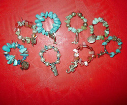 8X Lot TURQUOISE Abalone WINE CHARMS Fish SEAHORSE Shell DOLPHIN Golf Clubs - $28.72