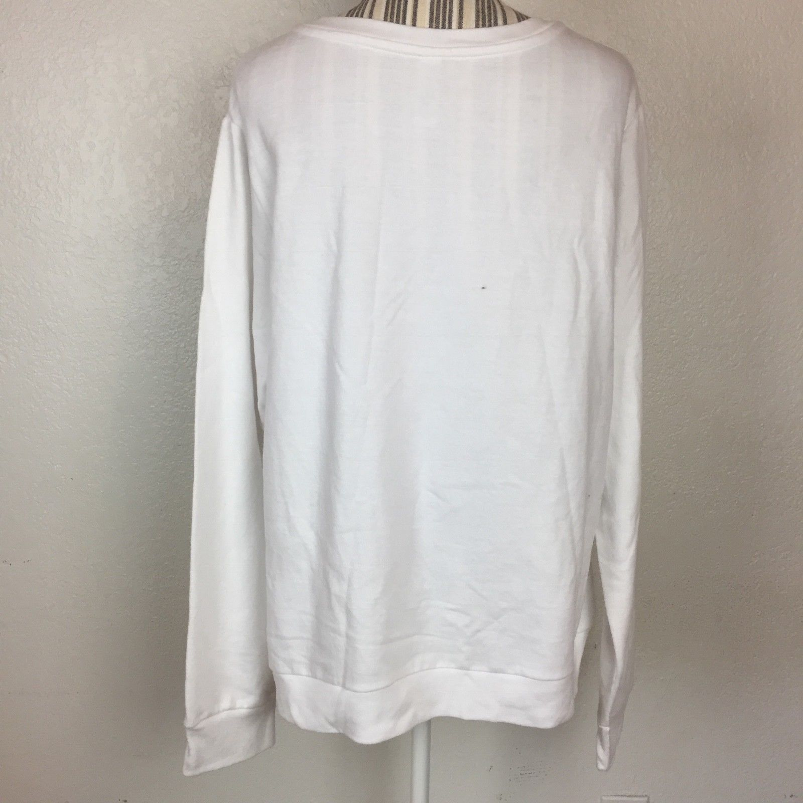 Junior's Halloween White Ghost Face Crewneck Pullover Sweater Size XL Costume