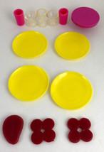 Barbie Picnic Accessories Food Burgers Steak Plates Glasses Bowls Vintag... - $12.00