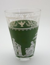 Beautiful set of 7 green Jasperware Grecian Hellenic highball glasses - $16.83