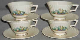Set (4) Lenox RUTLEDGE PATTERN Cups and Saucers MADE IN USA - $71.27