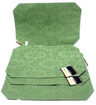 Luxury Jacquard Damask Table Placemats Set of 4 Victorian Green Rose Rev... - $34.20