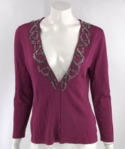 Jones New York Cardigan Sweater Sz Medium Petite Purple Beaded Hook Eye ... - $17.42