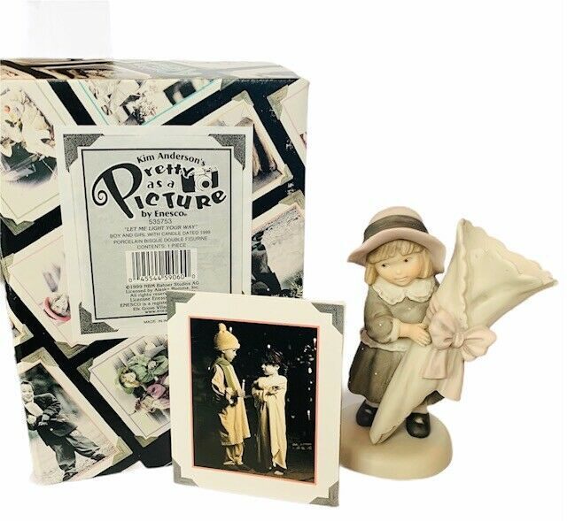 Primary image for Pretty as Picture Kim Anderson figurine vtg NIB box candle holder light way let