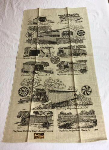 VTG NOS Kay Dee PENNSYLVANIA COVERED BRIDGES Linen Tea Towel
