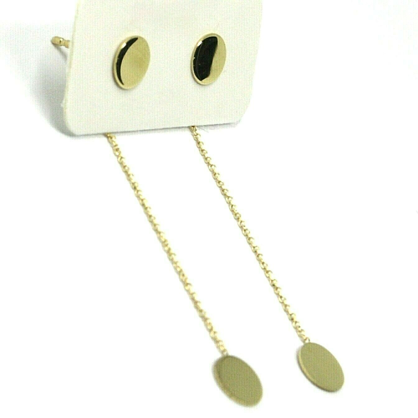 18K YELLOW GOLD PENDANT EARRINGS FLAT DOUBLE DISC, SHINY, SMOOTH, ROLO CHAIN