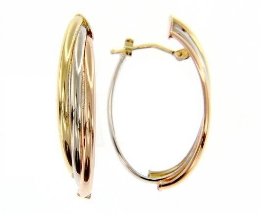 18K YELLOW WHITE ROSE GOLD OVAL HOOP EARRINGS SIZE 32 MM x 12 MM MADE IN ITALY