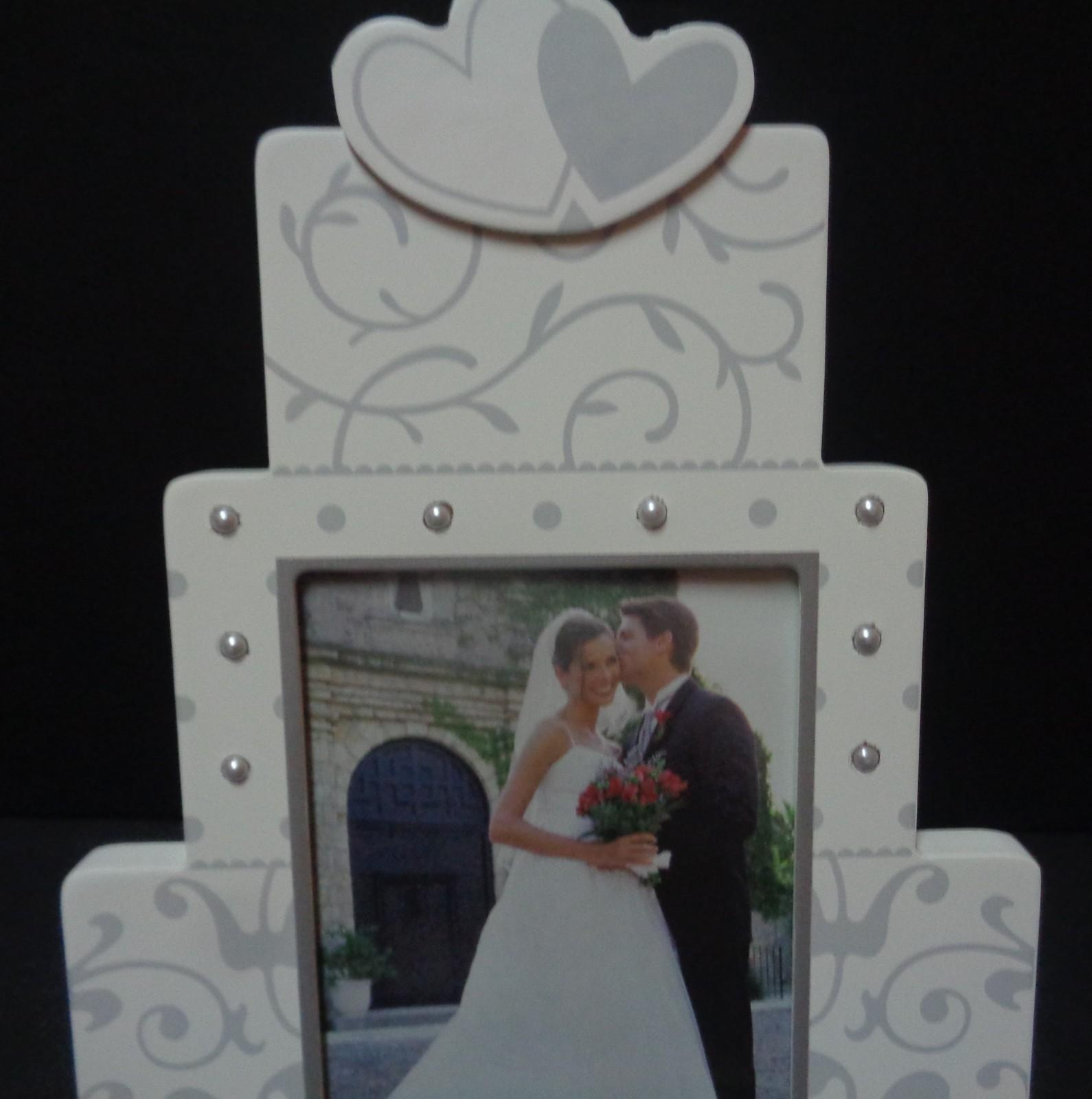 Our Wedding Day Wood Photo Frame Cake NWT Malden 4 x 6 photo