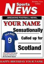 A5 Personalised Scotland Football Greeting Birthday Card any name  - $3.83