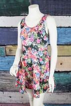 Lush Medium M Black Pink Floral Stretch Scuba Fit & Flare Skater Dress N... - $29.69