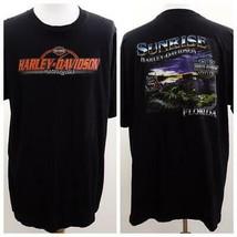 Harley Davidson Sunrise Black Graphic T Shirt Mens Sz 2XL USA - $28.93
