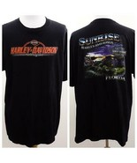 Harley Davidson Sunrise Black Graphic T Shirt Mens Sz 2XL USA - $28.93