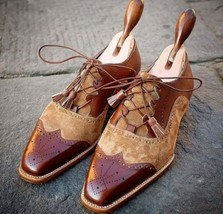 Handmade Men's Brown Leather Beige Suede Wing Tip Stylish Oxford Shoes image 2