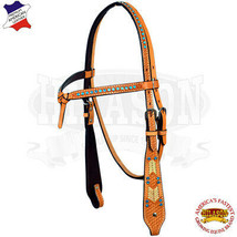 Western Horse Headstall Tack Bridle American Leather Tan U-3-HS - $54.95