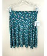 NWT Lularoe Girls 14 Azure Skirt Bird Heart Teal Green Slinky - $17.99