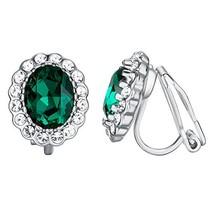 Yoursfs Emerald Green Clip Earrings for Women Oval Shap Clip on Rhinesto... - $9.92