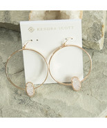 Kendra Scott Elora Rose Gold Iridescent Drusy Hoop Drop Dangle Earrings NWT - $83.66