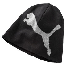 Puma Beanie Big Cat Hat Black For Adults Unisex Cotton Knitted Double La... - $24.12