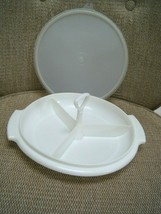 Vintage Tupperware #608-1 Divided  3 pc. Relish Tray With Lid 229-33  - $6.50