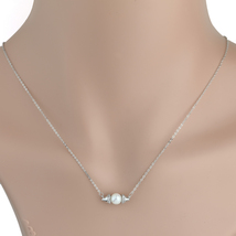 UE- Silver Tone Designer Necklace With Faux Pearl & Swarovski Style Crystals  - $15.99